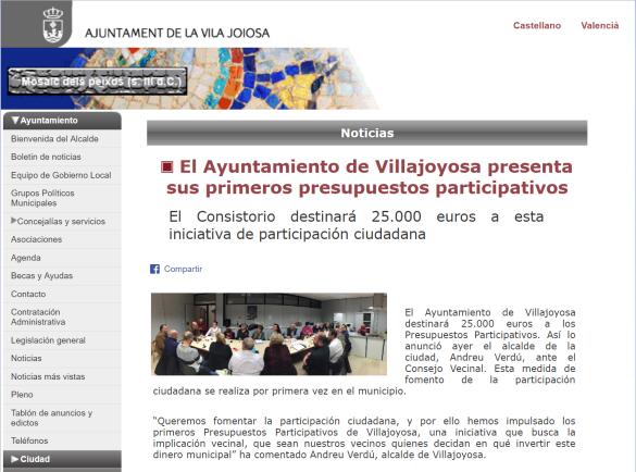 Anuncio municipal sobre la puesta en marcha de presupuestos participativos