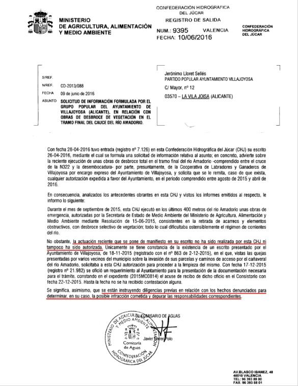 Documento que envía la propia Confederación Hidrográfica del Júcar ante el desbroce del cauce del río Amadorio realizado por Alemany