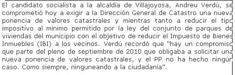 Andreu Verdú se comprometió públicamente a bajar el IBI al mínimo legal permitido del 0.4% y ha mentido