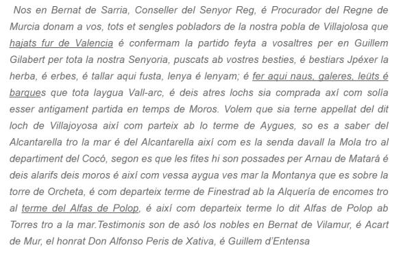 Extracto de la Carta Pobla de la Villa de Villajoyosa. Año 1301