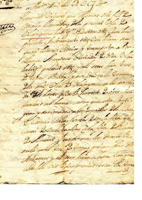 Escritura de compra del hortet dels Orts en la Calle Limones del año 1702