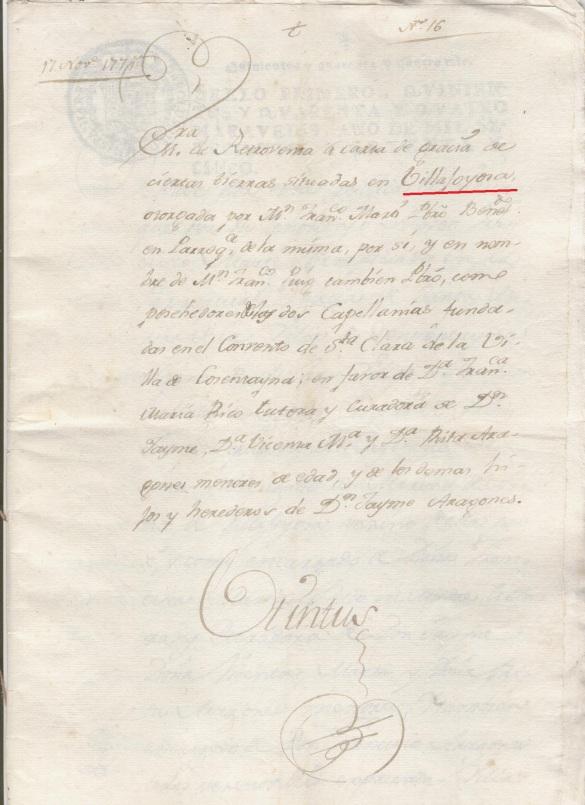 Documento del 1775 sobre retroventa del camino real de Finestrat, Orcheta, Alicante y la Cruz de Piedra