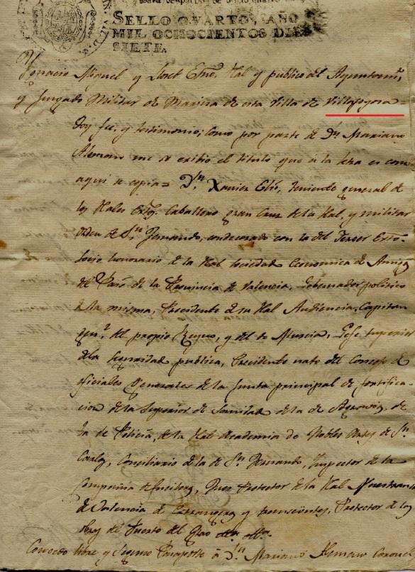 Salvoconducto de un capitán general al coronel. Año 1817